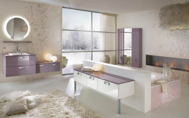 Purple Accented Bathroom Concept with Illuminating Mirror