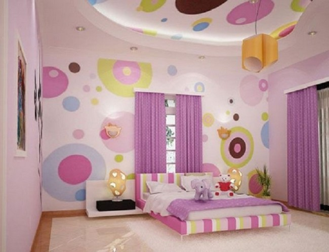 Cute Pink Colored Bedroom Concept for Girls
