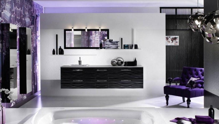 Bathroom Design in Stunning White and Purple
