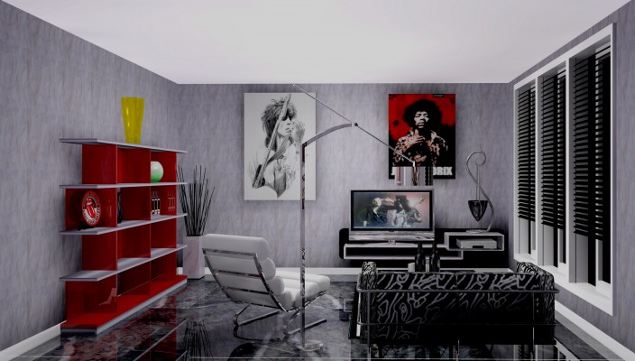 Creative living room design in grey finish