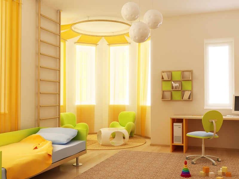Interior exterior plan bedroom idea in yellow and green for Yellow bedroom interior design