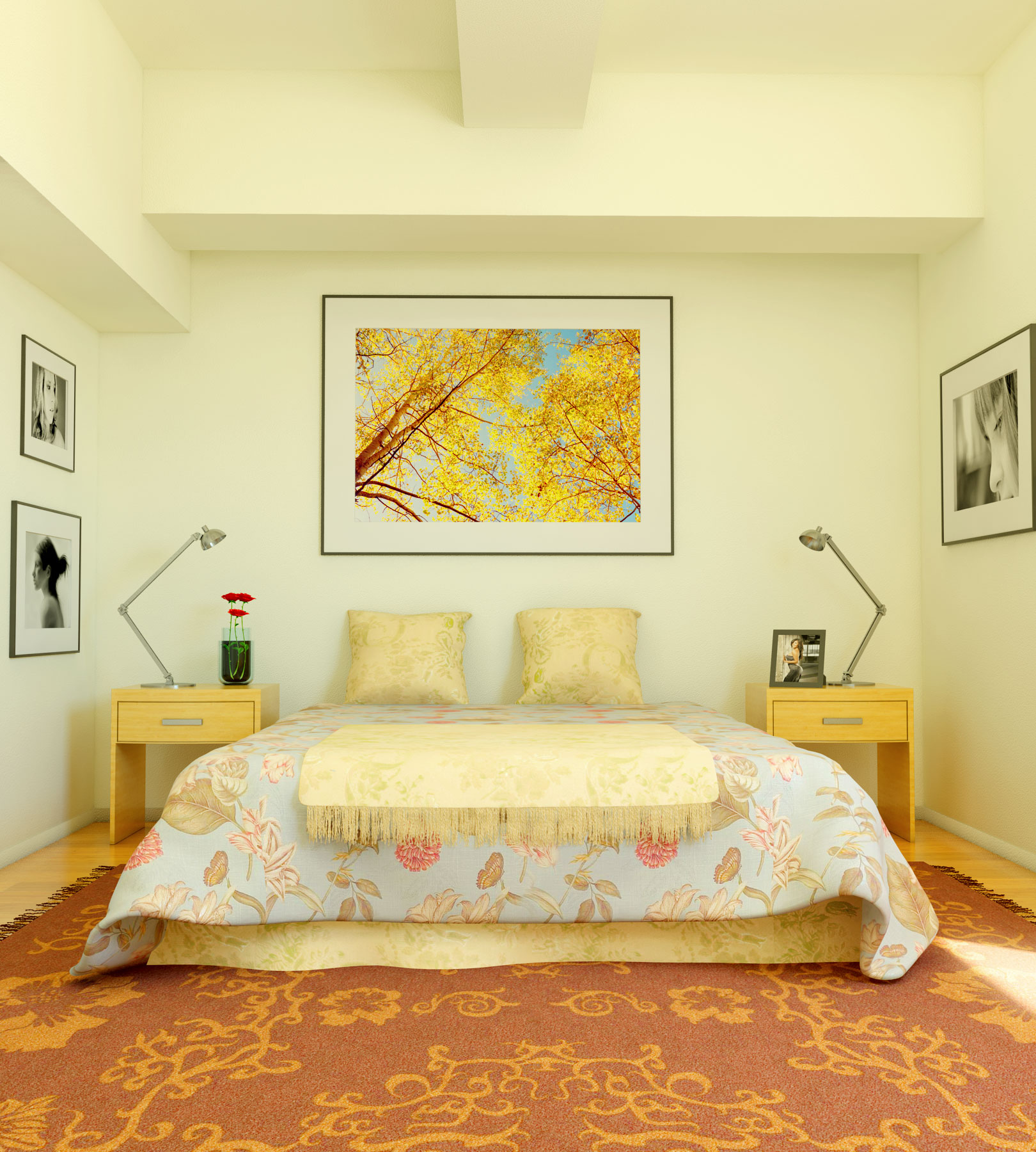 Interior exterior plan uncomplicated bedroom style in a for Small bedroom wall pictures