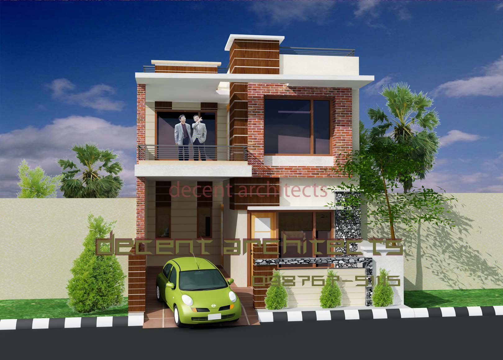 Interior exterior plan decent small house for Front house exterior design