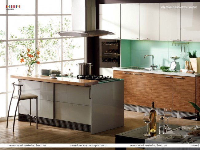 Beautiful kitchen with wooden flooring