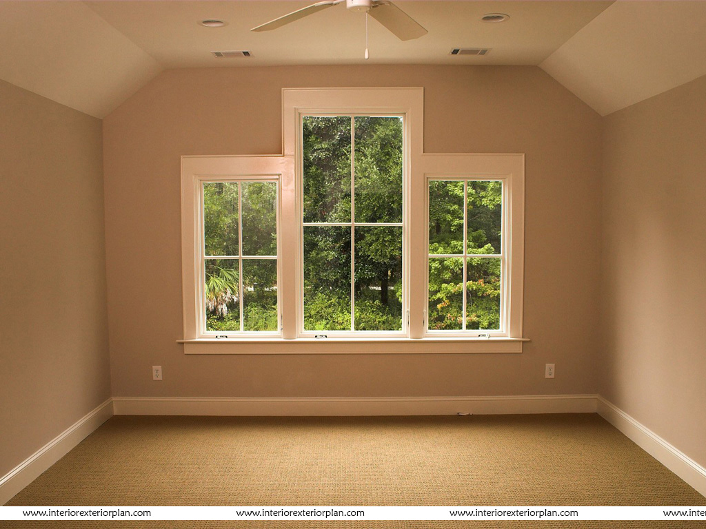 Interior Exterior Plan Empty Bedroom With Large Windows