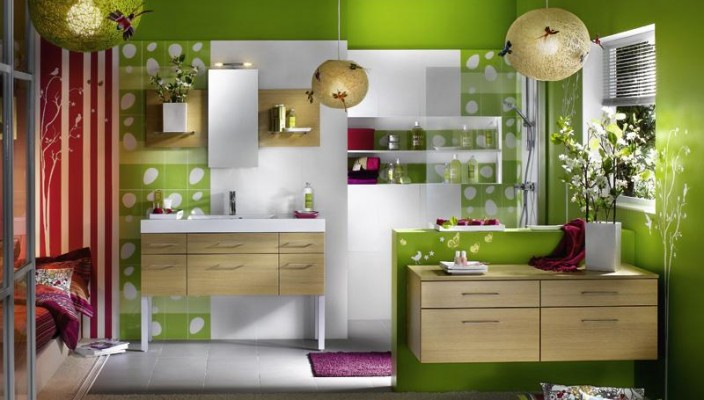 Bathroom Concept with Bright Green Finish