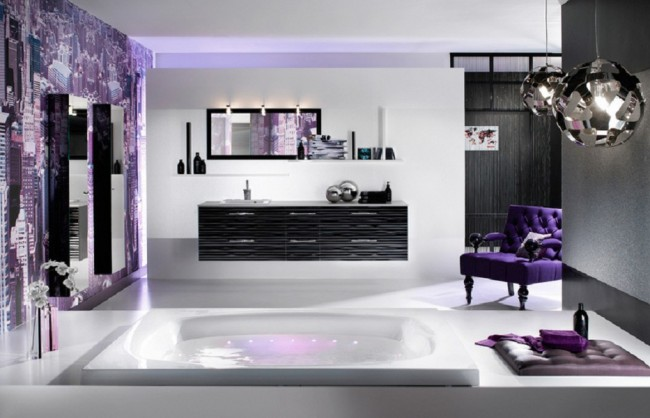Large bathroom concept in purple and white