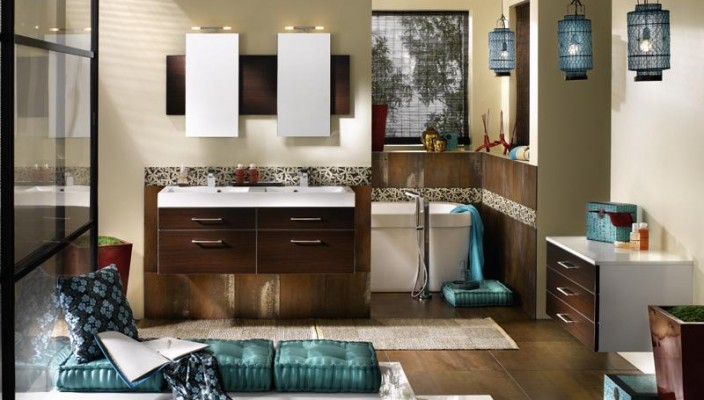 Mixed Color and Design Modern Bathroom Interior