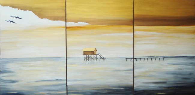 Series of Three Paintings by Linda Paul