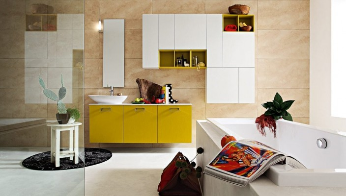 Colorful Bathroom Concept with Varied Layers