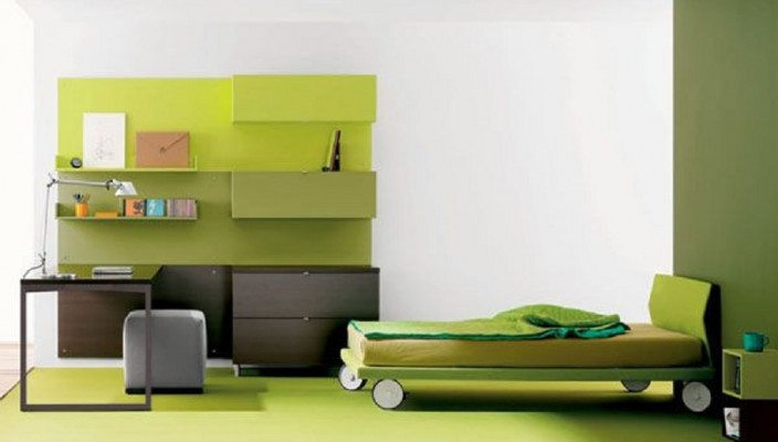 Classy Green Themed Bedroom Idea for Teenagers