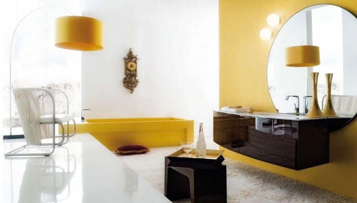 Appealing bathroom interior in white and yellow finish