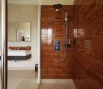 High end bathroom design in a dark style finish