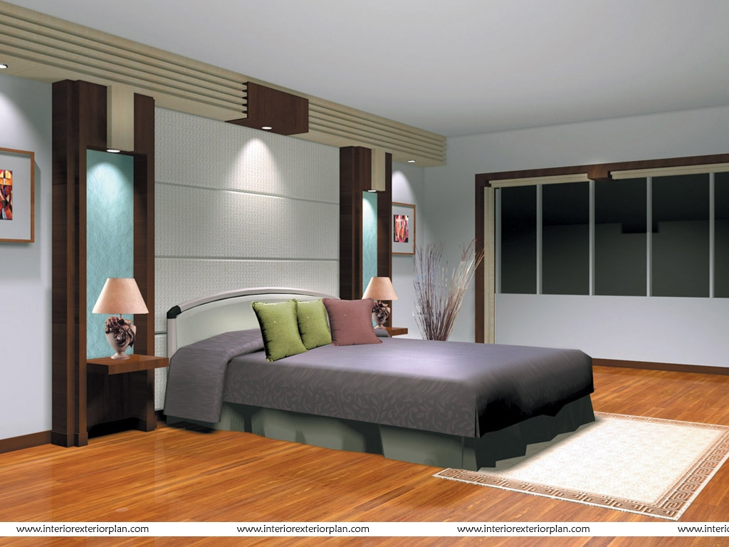 Interior exterior plan streamlined bedroom design for Interior bed design images