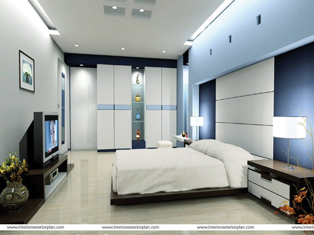 Interior Exterior Plan Bedroom Design With A Television Set