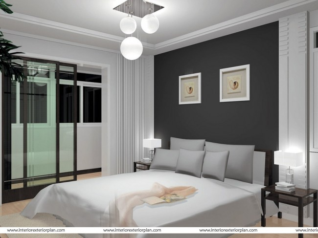 Smart bedroom in grey and white
