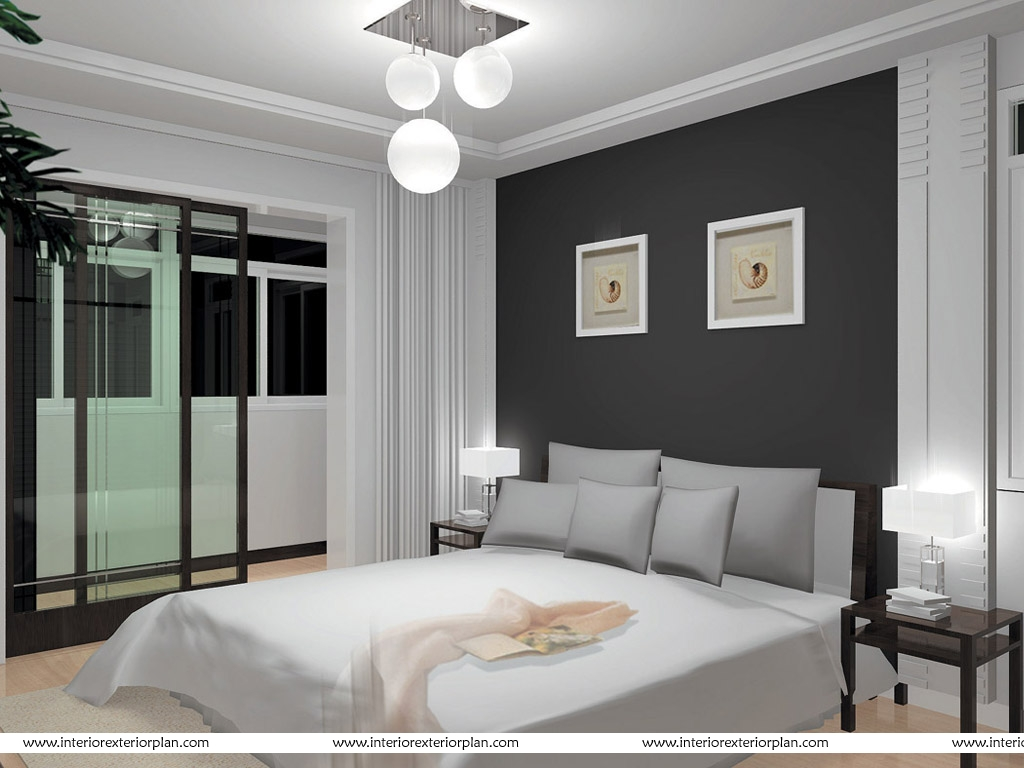 interior exterior plan smart bedroom in grey and white