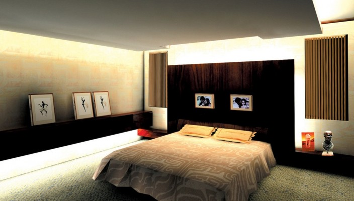 Clutter free modern bedroom design