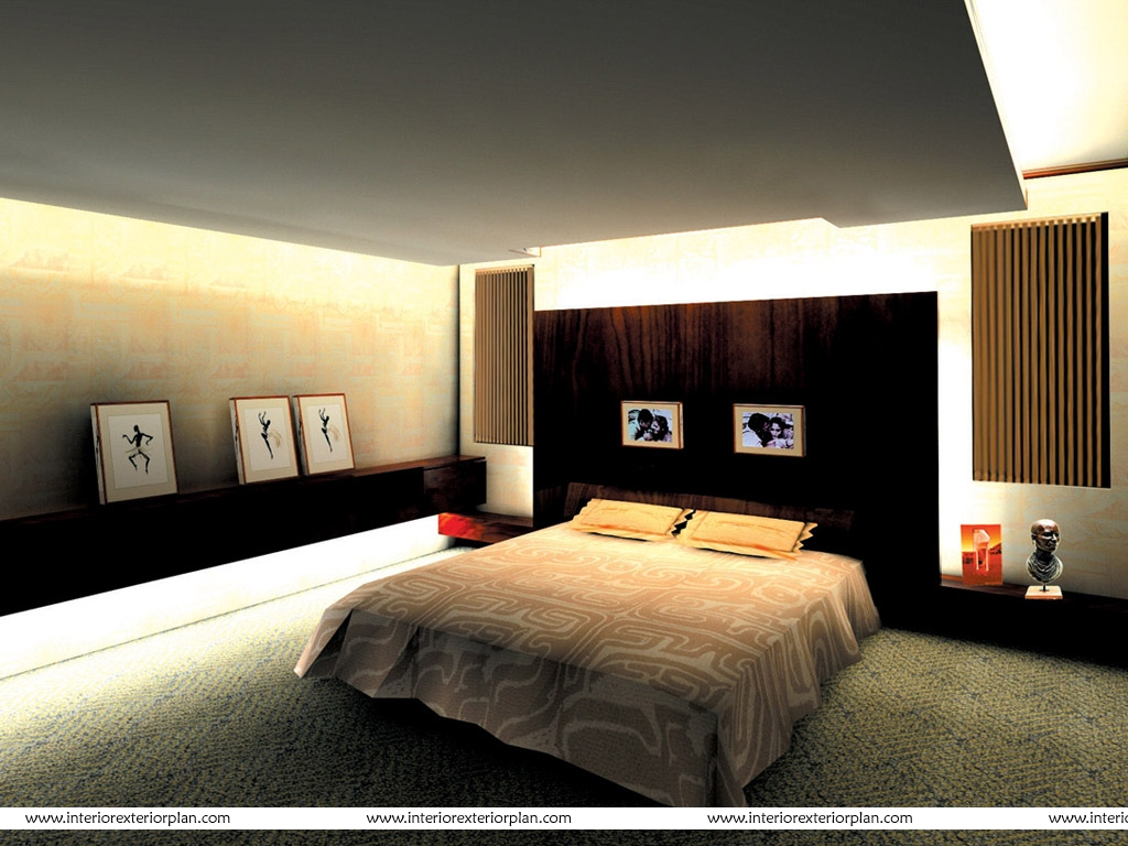 Interior exterior plan clutter free modern bedroom design for Bed interior design picture