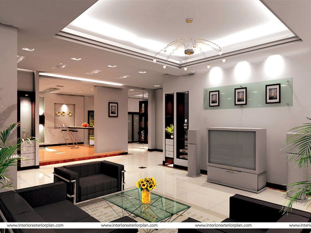 Interior exterior plan living room with clean cut lines for Small size drawing room interior