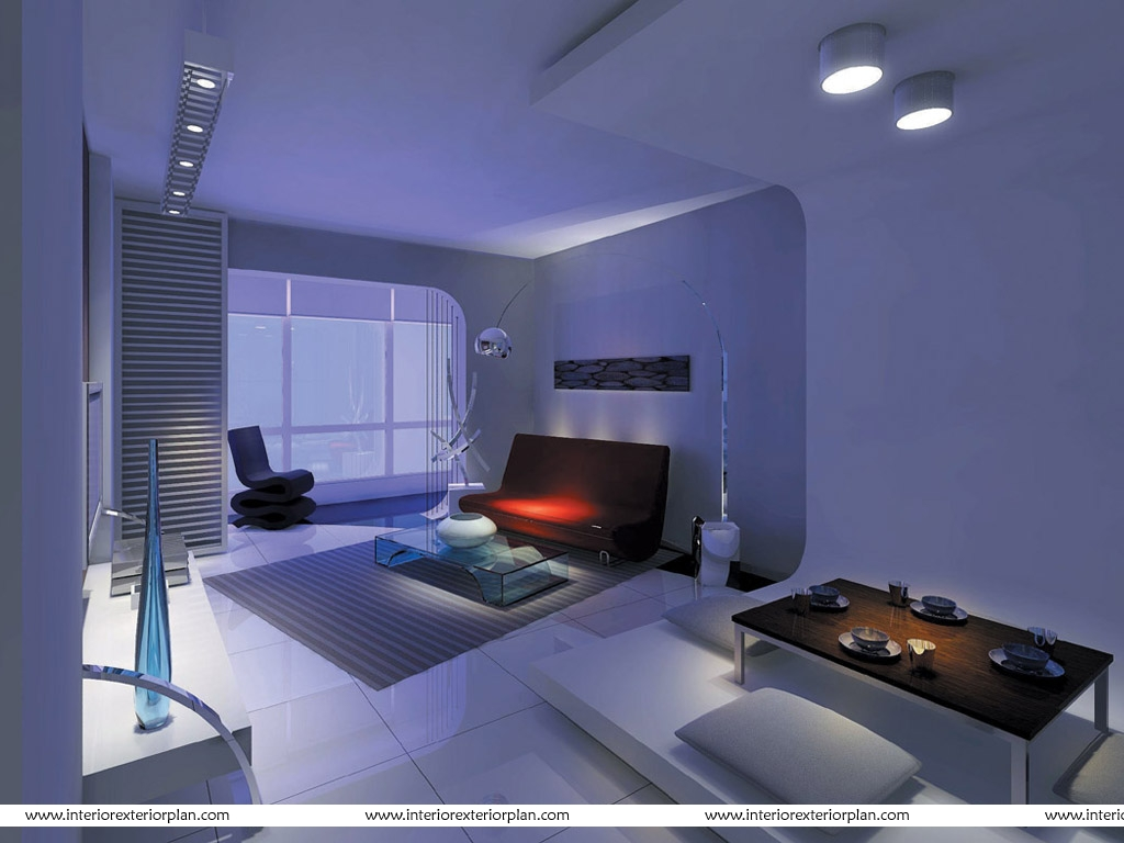 Interior exterior plan living room with futuristic design for Room layouts for bedrooms