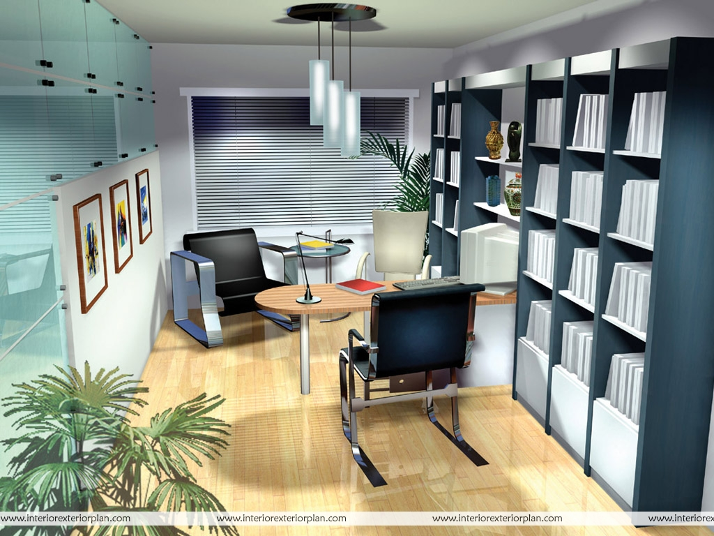 Interior exterior plan an office in style for Decorated office
