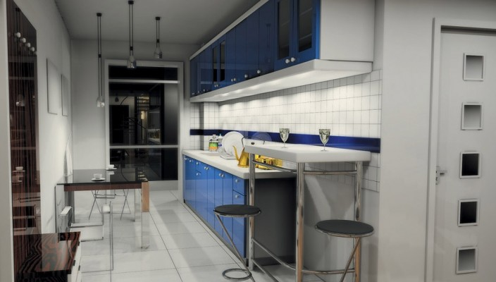 Well designed narrow kitchen