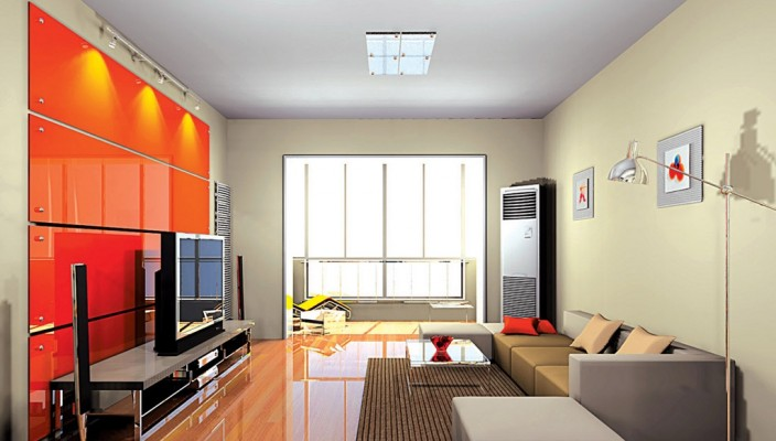 Use of fiery colours in spacious living room