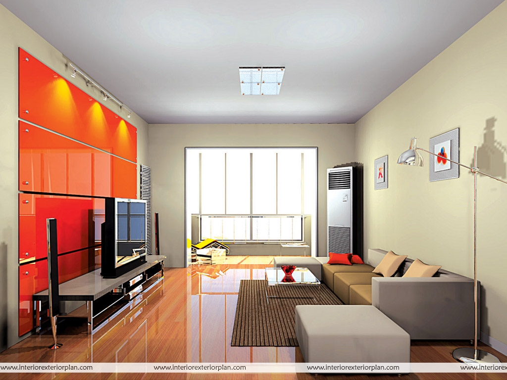 Interior exterior plan use of fiery colours in spacious living room