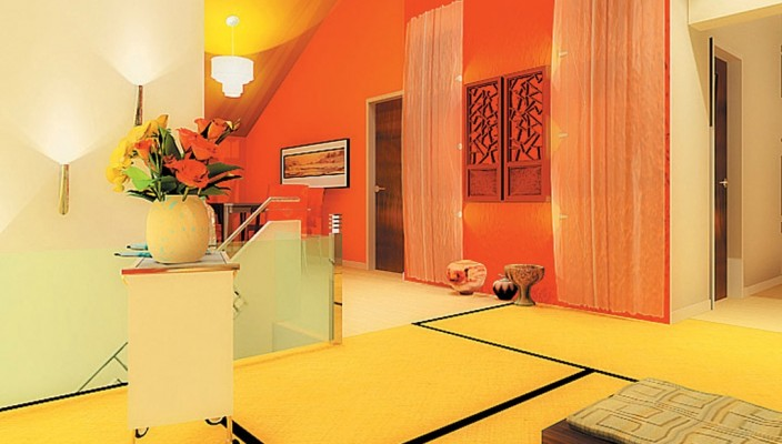Living room in warm shades of vibrant colours