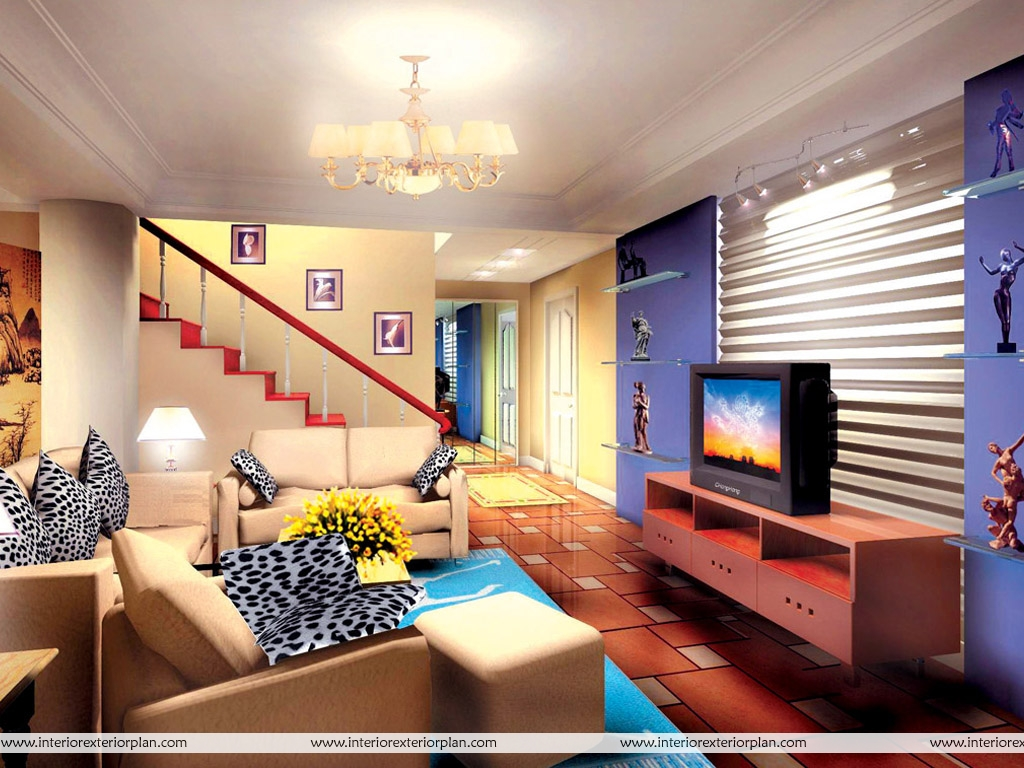 Interior exterior plan living room with magnificent design for Design of living room
