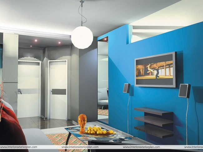 Blue and Gray Combination Living Room