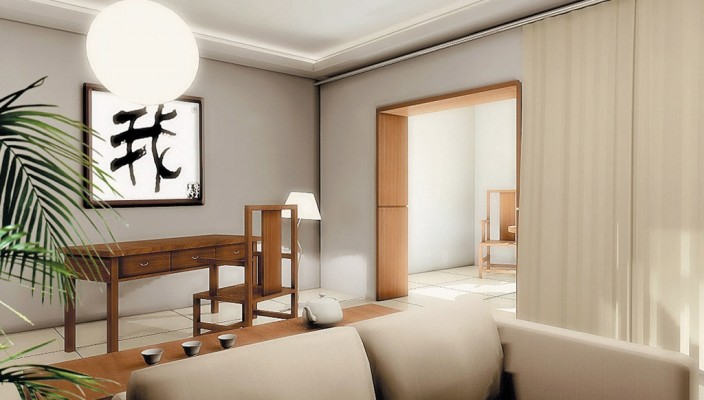 Milk White Living Room with Wooden Touch