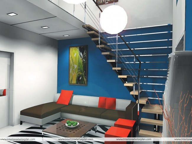 Dark Blue Living Room with Stair Case