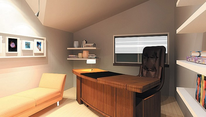 Interior exterior plan office with personal touch for Office cabin interior