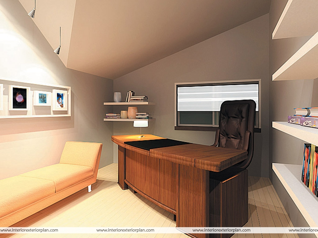 Interior exterior plan office with personal touch for Small office cabin interior design ideas
