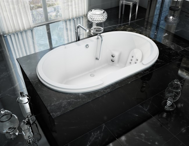 The lavish luxury of a marble tiled bathroom