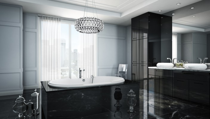 Crystal elegance of a majestic bathroom
