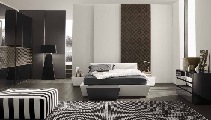 Spacious bedroom in black and white