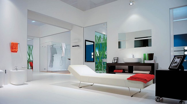 Luxurious bathroom with a bed
