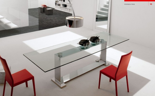 Grey and red dining area