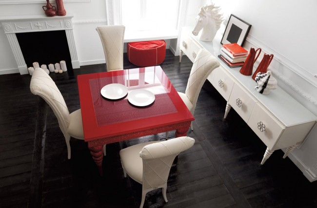 Dine in red and cream luxury