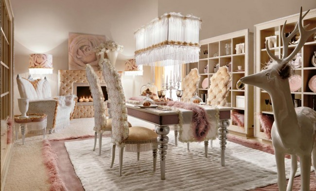 Pink luxury for dining room