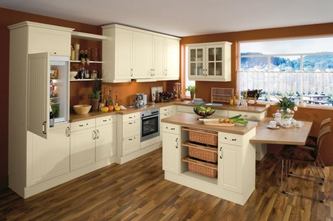 Use dark shades on walls and flooring with white cabinets for your kitchen