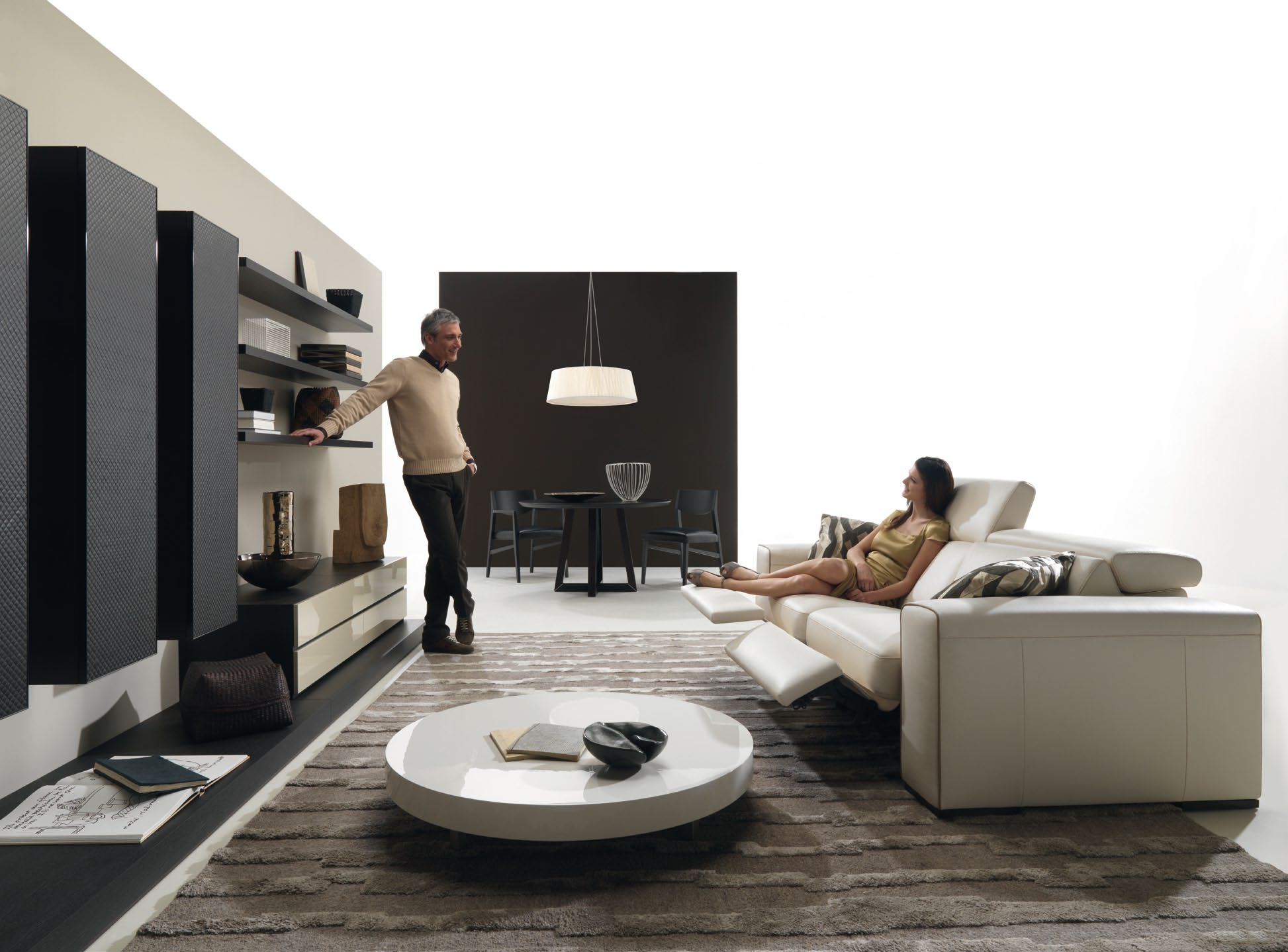 Black and white yet modern living area