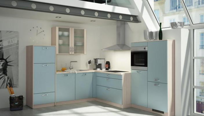 Try sky blue an unusual and interesting color for your kitchen