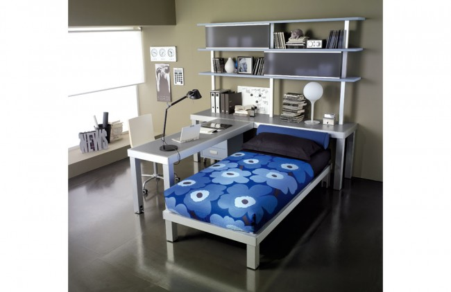 Compact grey teen room