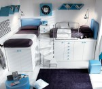 Kids room in white with blue highlights
