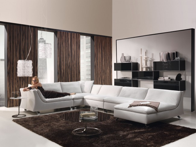 White and brown living area