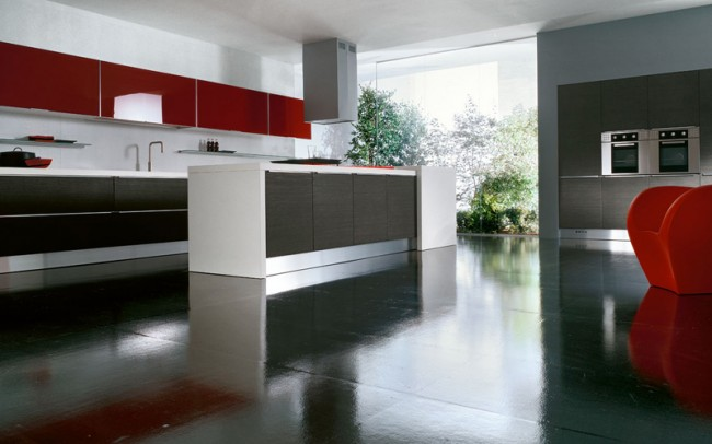 Spacious Kitchen with Exterior View and Glossy Flooring